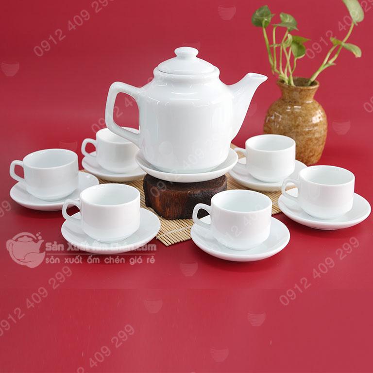 Bộ trà vuông cao sứ trắng
