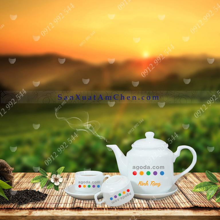 Bộ trà trắng vuông thẳng