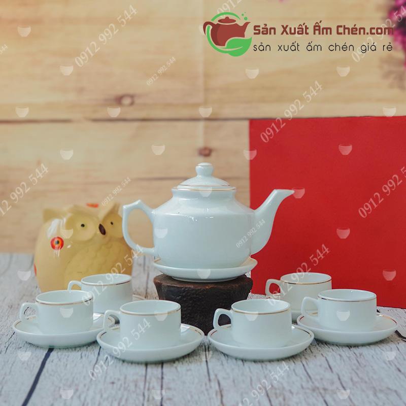 Bộ trà trắng vuông Hong Kong viền kim
