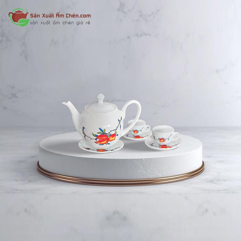 Bình Trà Minh Long Hoa Lựu